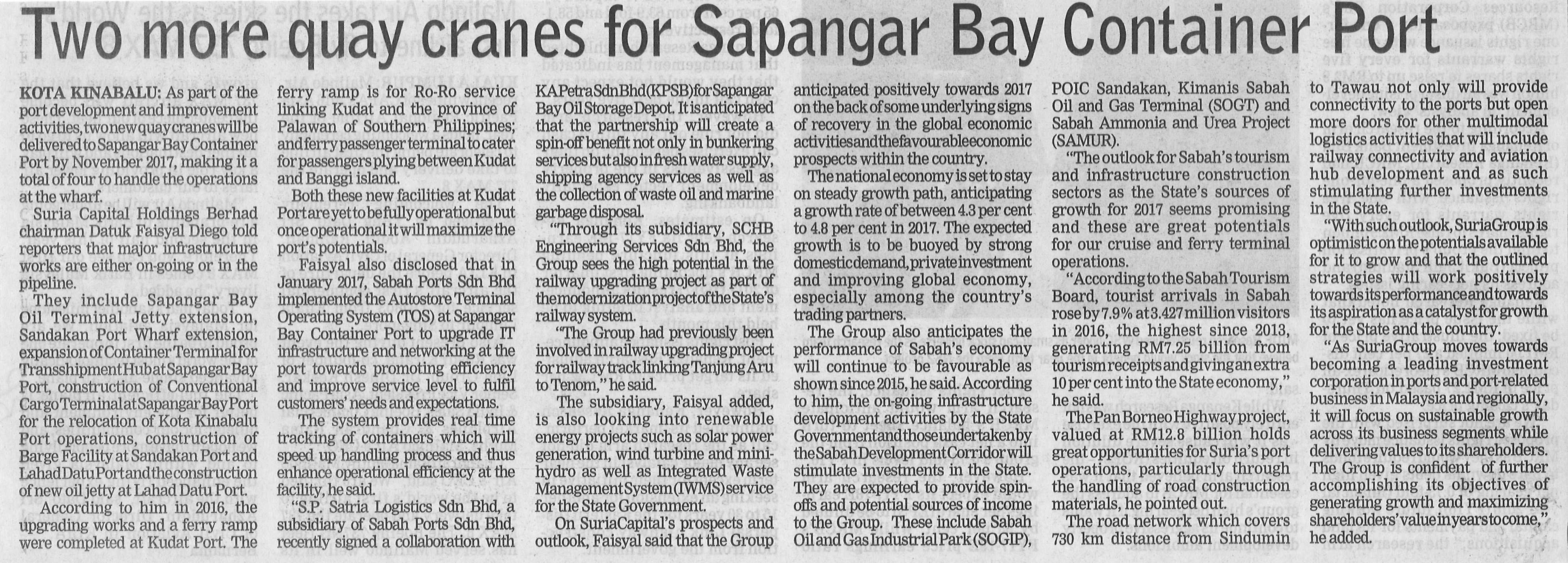 Two More Quay Cranes for SBCP