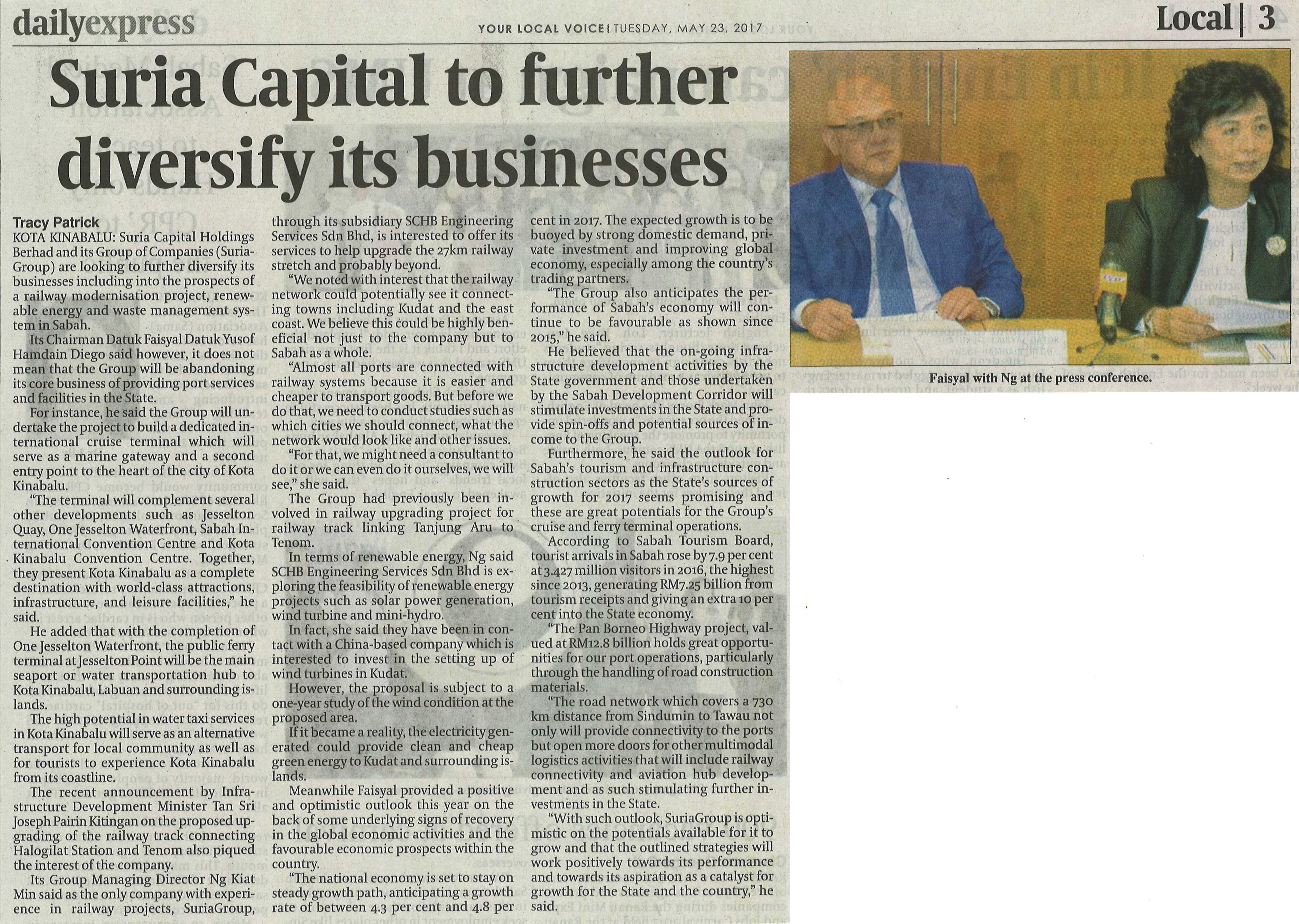 Suria Capital to Further Diversify its Businesses