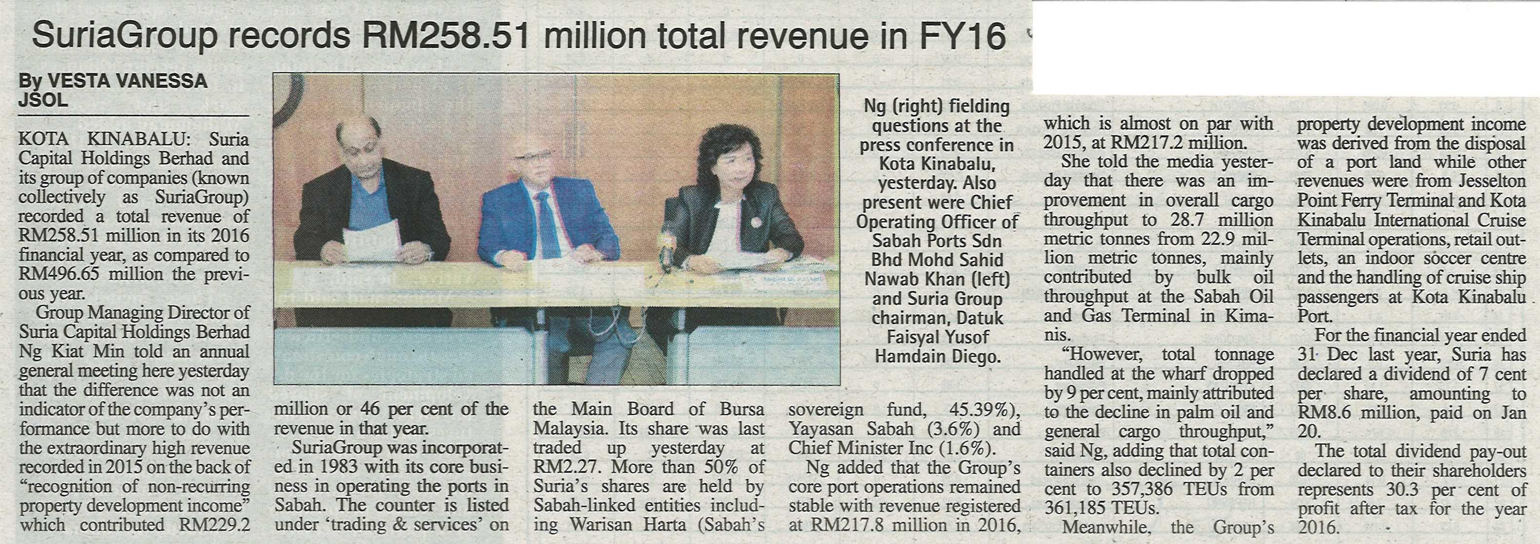 SuriaGroup Records RM258.51 Million Total Revenue in FY16
