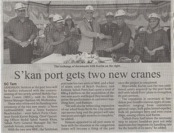 Sandakan Port Gets Two New Cranes